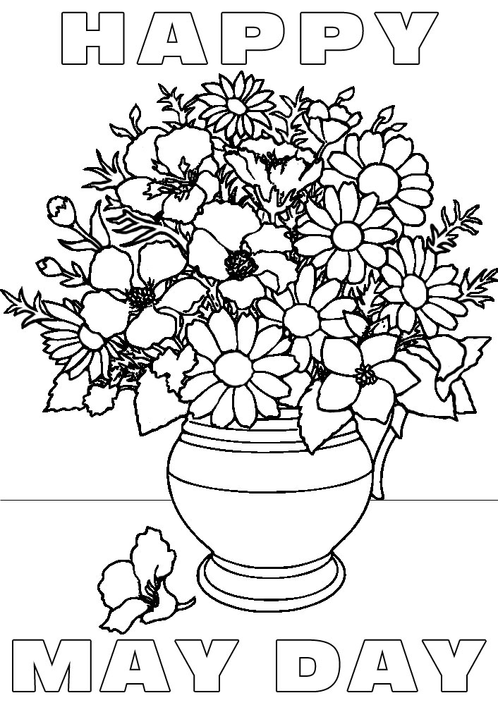 Happy May Day Vase Of Flowers Colouring Rooftop Post