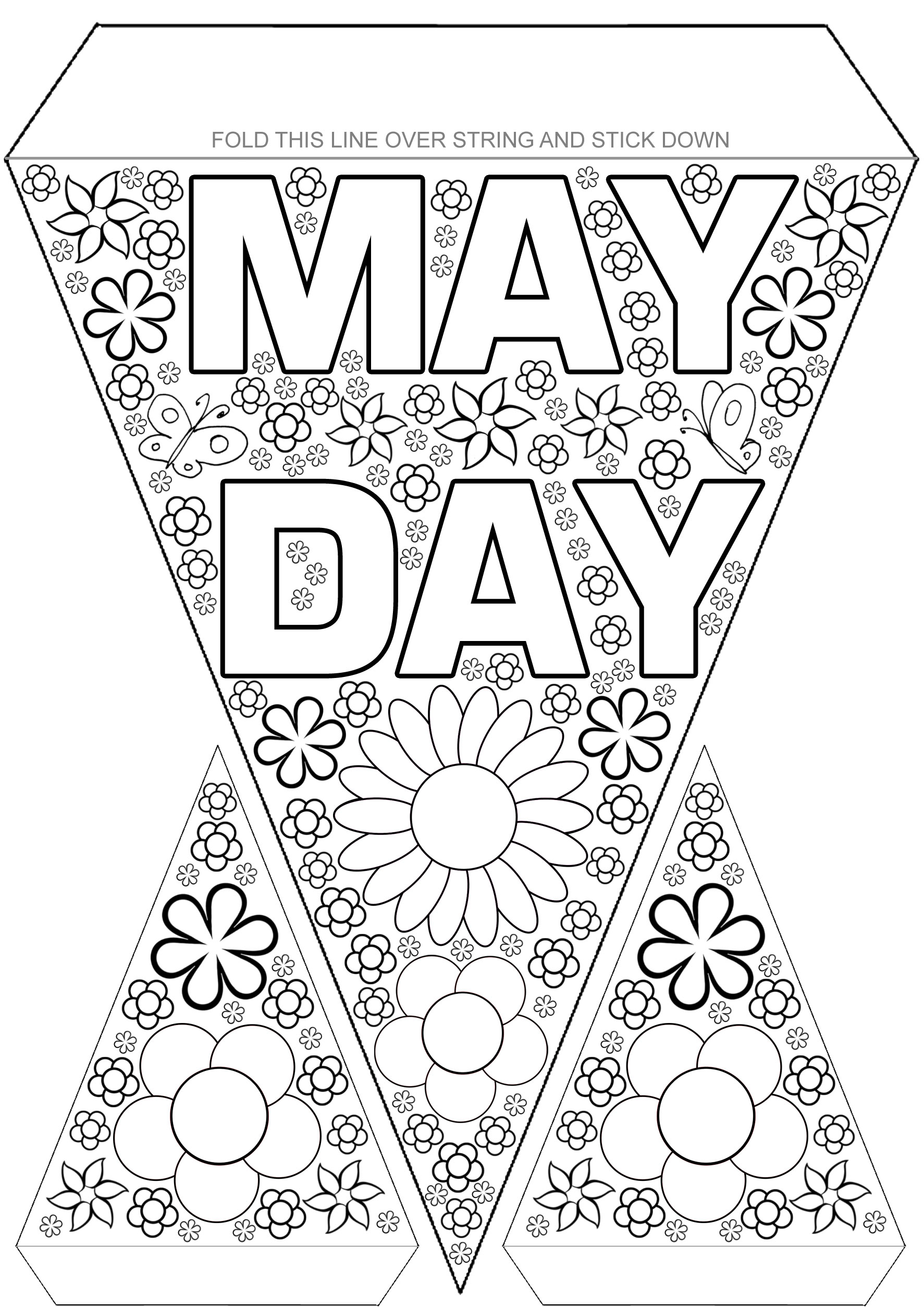 May Day Bunting To Colour