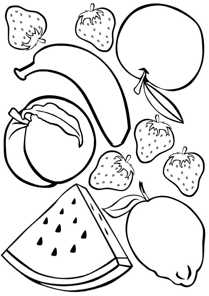 Fruit Colouring   Rooftop Post Printables   fruits coloring pages for kindergarten