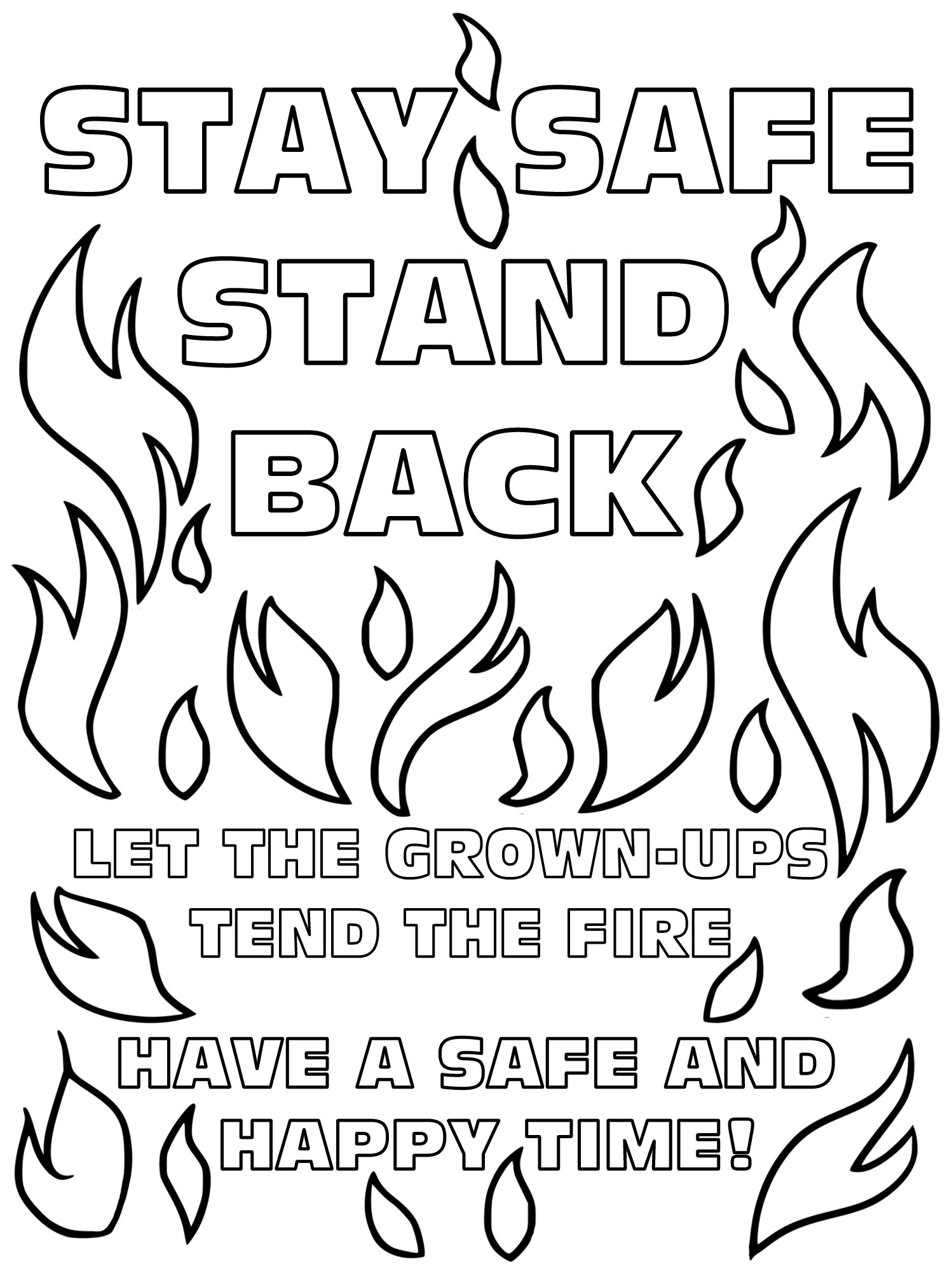 Kids Colouring Bonfire Safety Poster