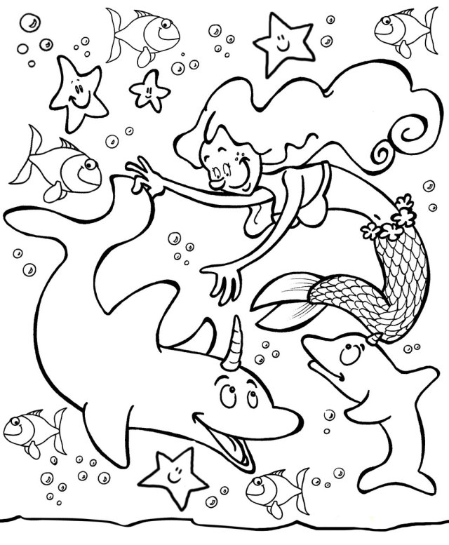 Mermaid with Dolphins Colouring Page  Rooftop Post Printables