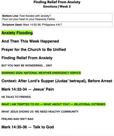 Sermon notes example