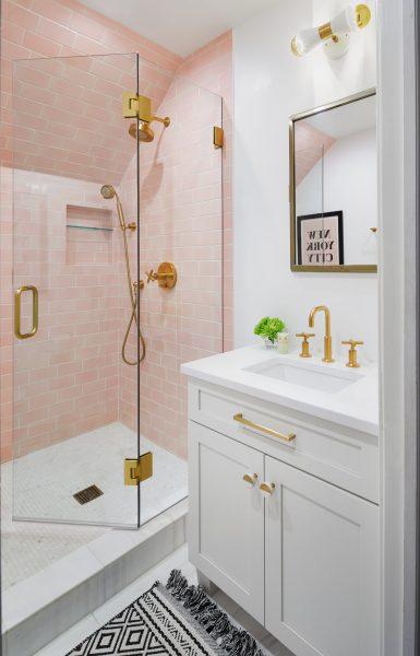 stunning pink tile bathroom remodel