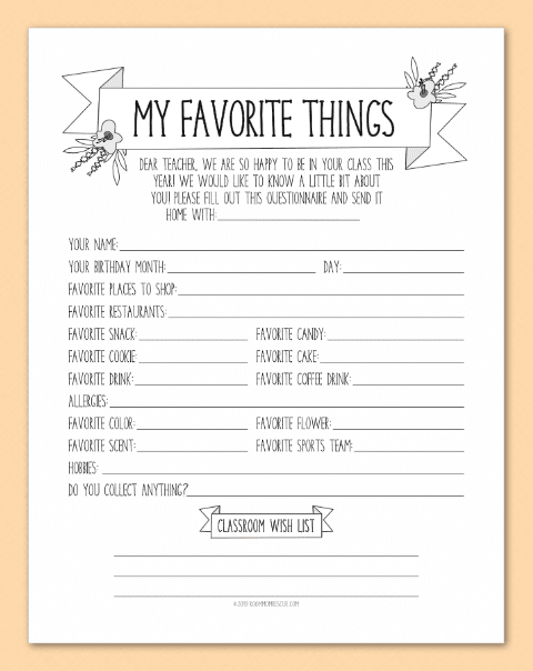 photo about Teacher Favorite Things Questionnaire Printable titled Printables Place Mother Rescue