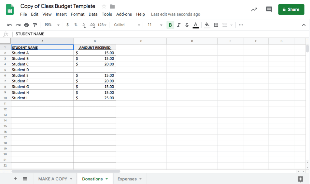 Keeping track of the class budget just got easier! Use this Google spreadsheet to track money collected from parents and expenses for class parties and projects. Get access to the complete Room Mom Resource Library at www.roommomrescue.com! #roommom