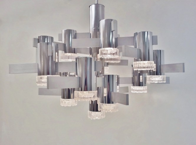 Sciolari Large Vintage Chandelier Chrome Glass Brushed Steel 1970 S Ca Italian In Chandeliers From Roomscape