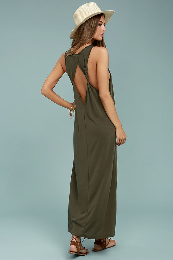 PPLA Pearl Olive Green Maxi Dress Room Service and Rose