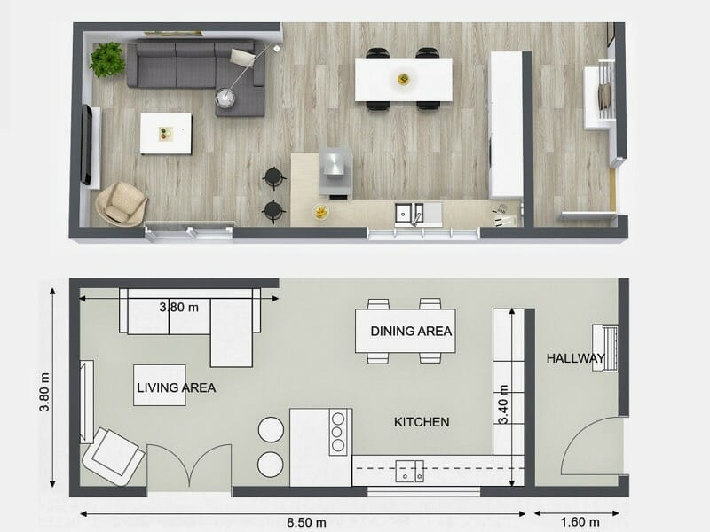 Best Design Kitchen Living Floor Plan