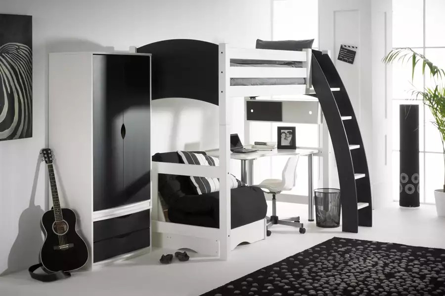 Scallywag High Sleeper With Chair Bed And Desk