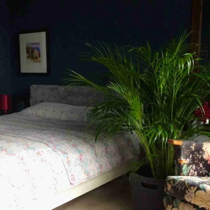 How to make a DIY padded headboard dark walls bedroom refresh