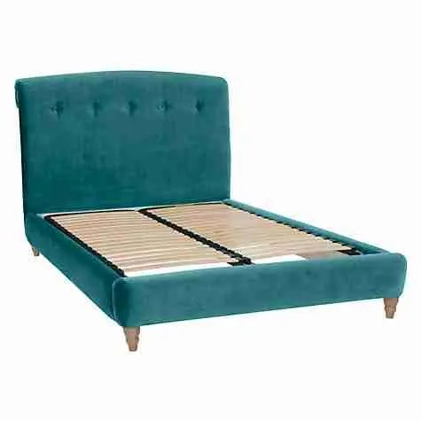 John Lewis Loaf velvet bed Peachy bed frame real teal Roomy Home blog post
