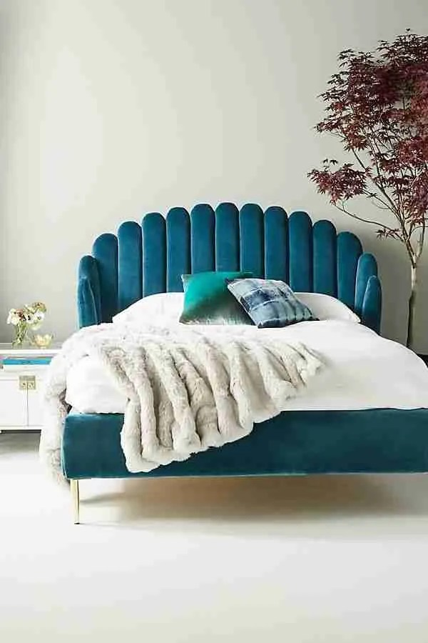 Anthropologie Bethan Gray feather bed blue green