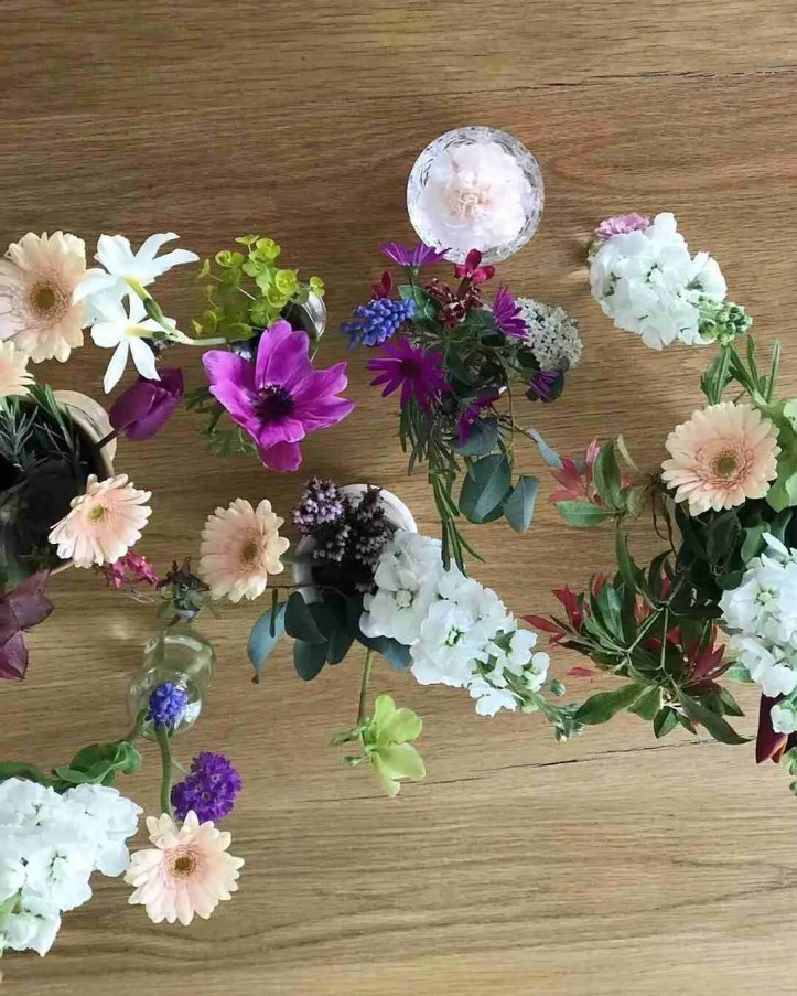 flower filled table flatlay Living with Flowers Rowan Blossom book review Roomy Home UK