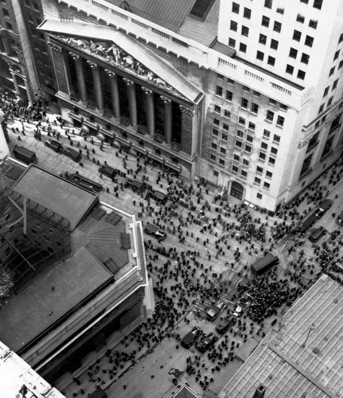 New York Stock Exchange at the intersection of Wall and Broad streets during the 1929 market crash. (Anonymous)