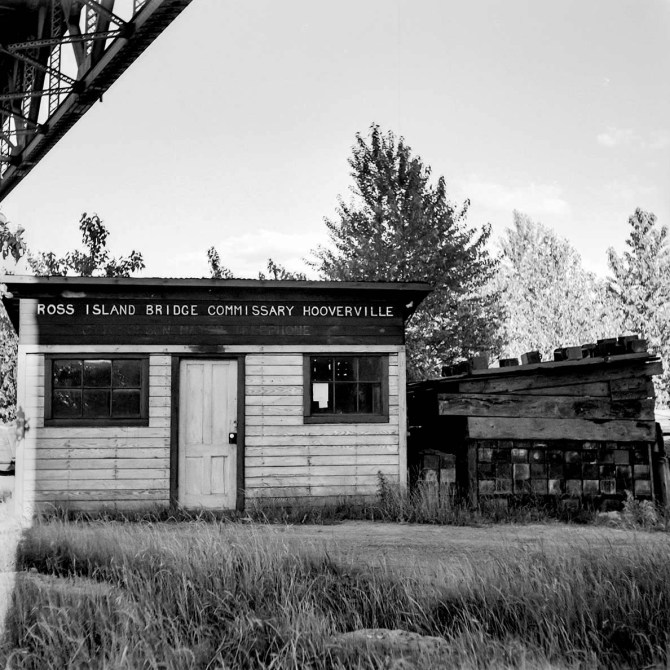 'Mayor's' office and commissary. Hooverville, Portland, Oregon 1936.