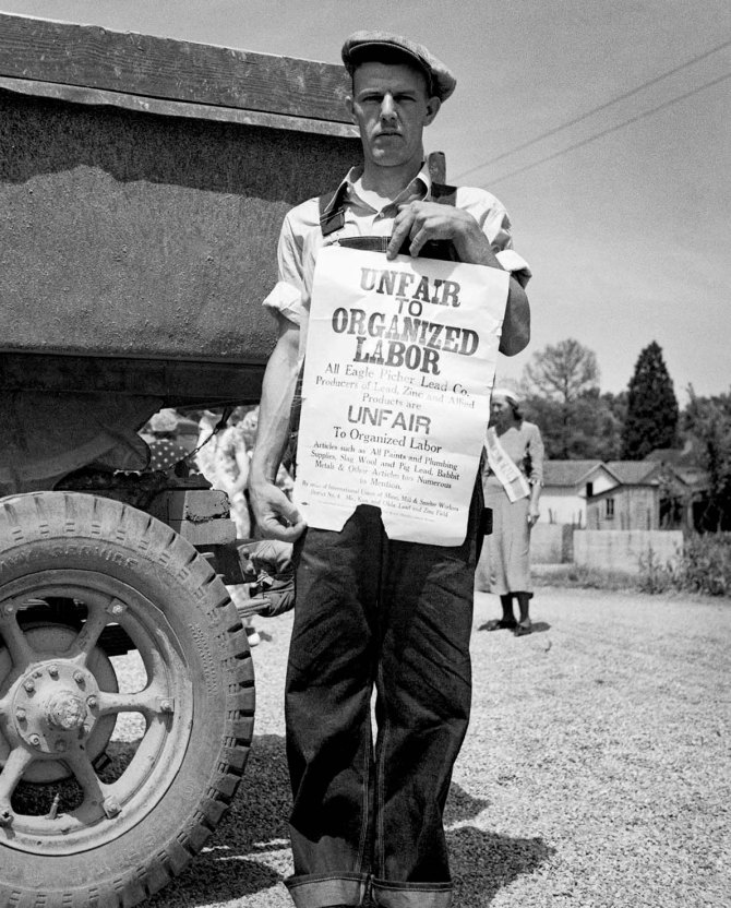 Striking zinc miner, Columbus, Kansas 1936.