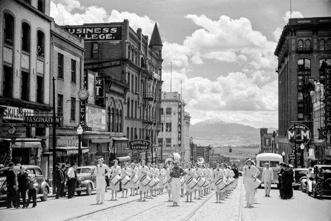 High school band parading up Montana Street,Butte, Montana. 1939.