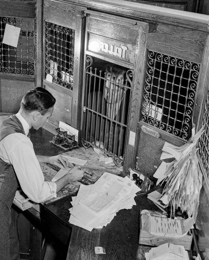 Farmer at bank.Creedmoor, North Carolina. 1939.