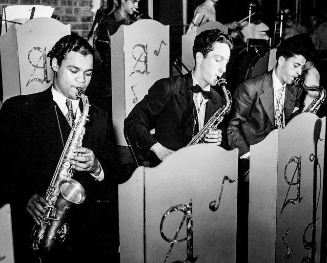 Band at community center, Red Hook housing development. Brooklyn, New York. 1942.