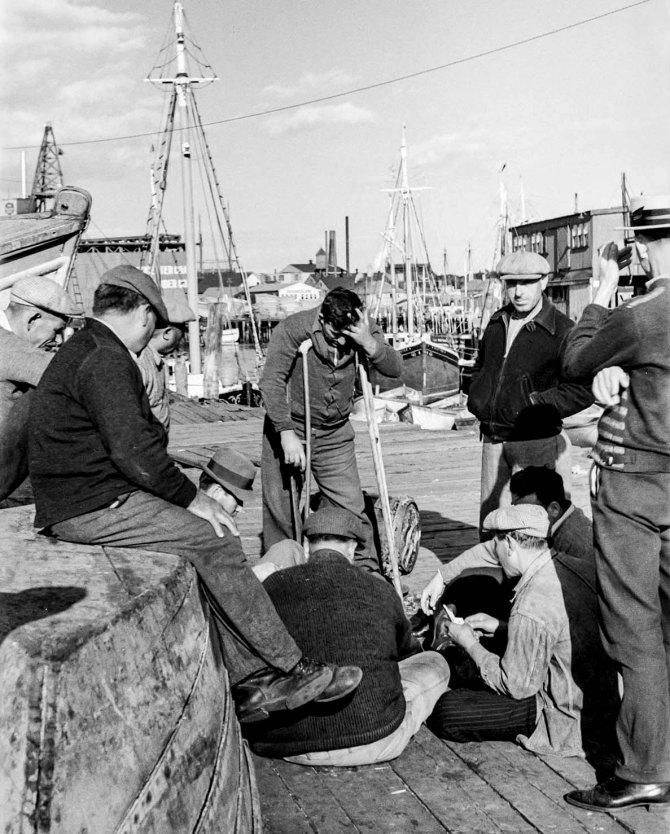 Fishermen playing cards,Gloucester, Massachusetts. 1937.