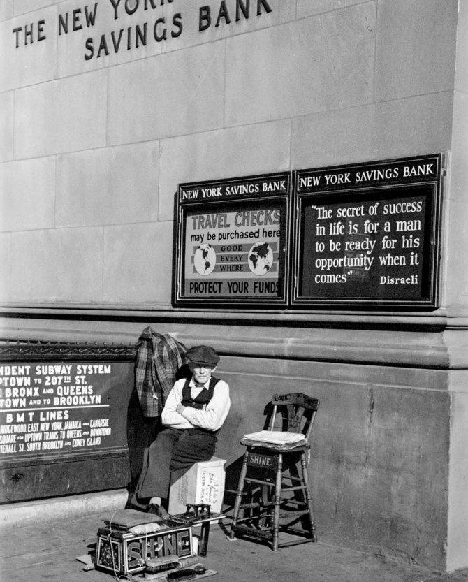 Bootblack, corner Fourteenth Street and Eighth Avenue, New York City.1937.