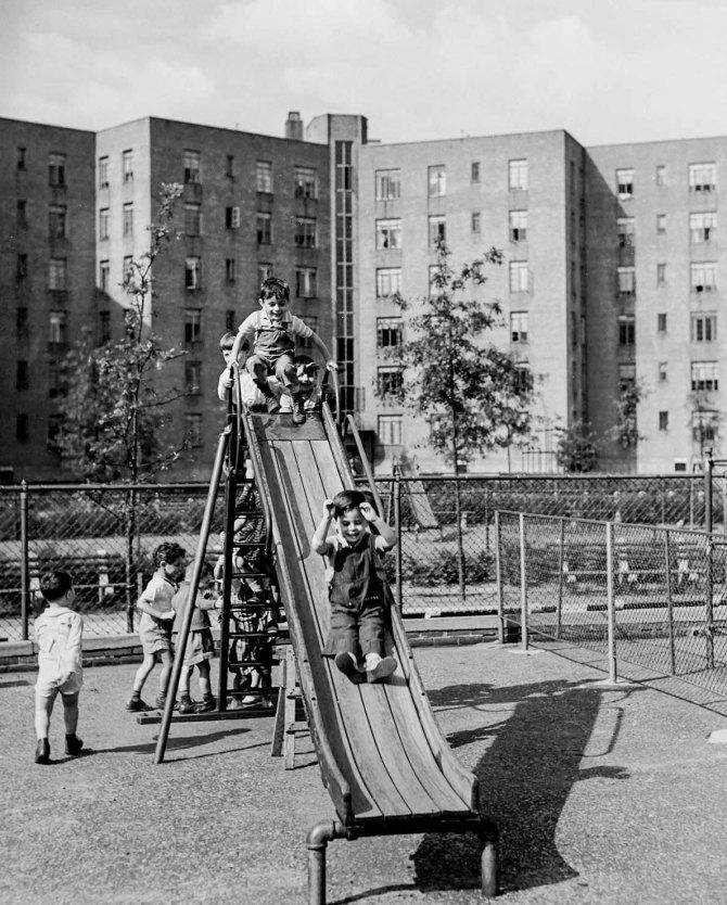 Queensbridge Houses playground slide. Queens, New York. 1942.