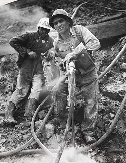 Jackhammers at Douglas Dam, Tennessee. 1941