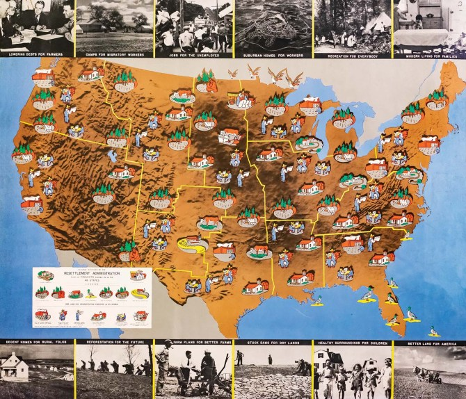 Map of Resettlement Administration projects showing the work of the agency which includes several Rothstein photographs. 1936.