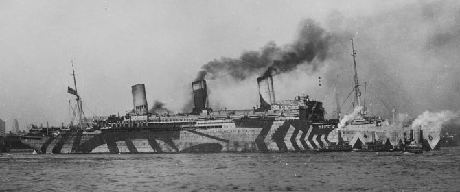 USS Leviathan in wartime camouflage