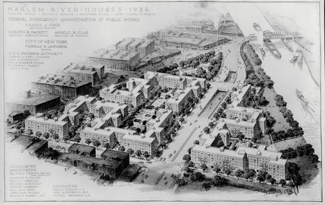 Architectural rendering for Harlem River Houses. 1936. (NYCHA)