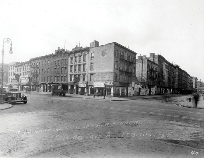 Buildings demolished for First Houses. Avenue A (left) and East 3rd Street. 1935. (NYCHA)