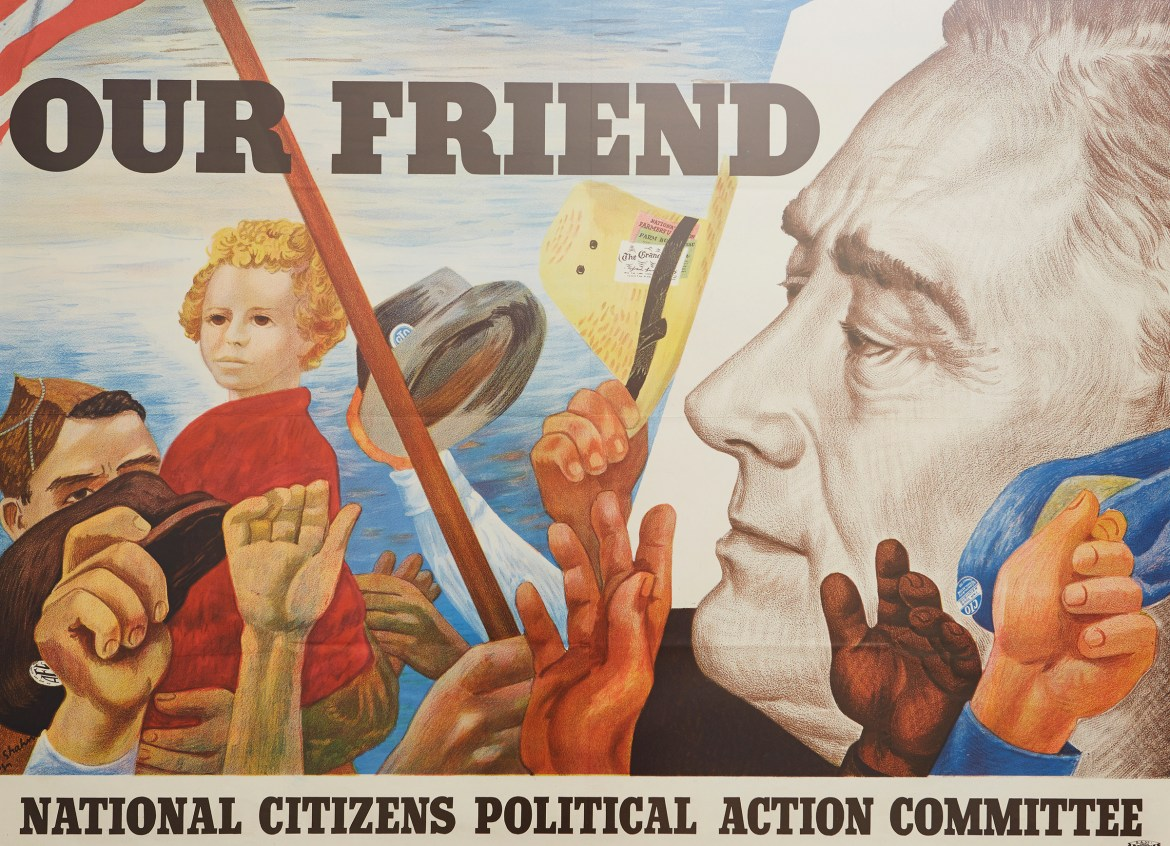 Ben Shahn.  OUR FRIEND. National Citizens Political Action Committee. 1944. (N-YHS)
