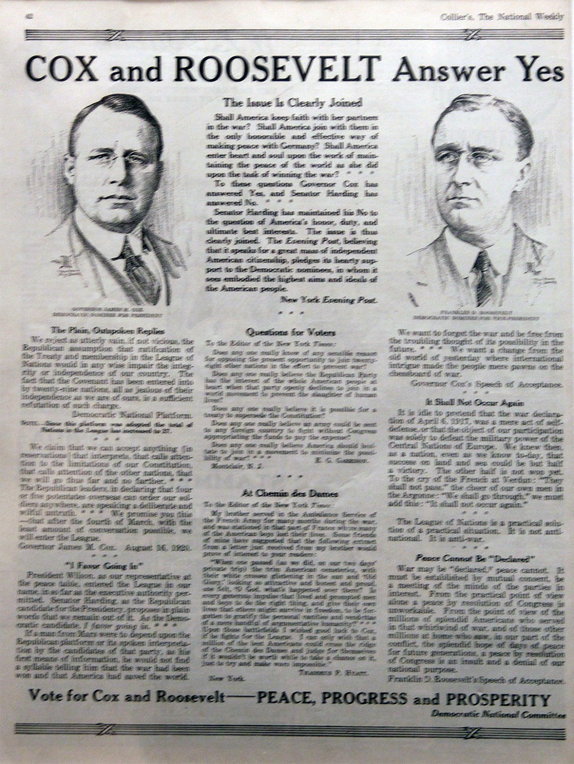 """Cox and Roosevelt Answer Yes,"" Collier's, October 2, 1920. (RH)"