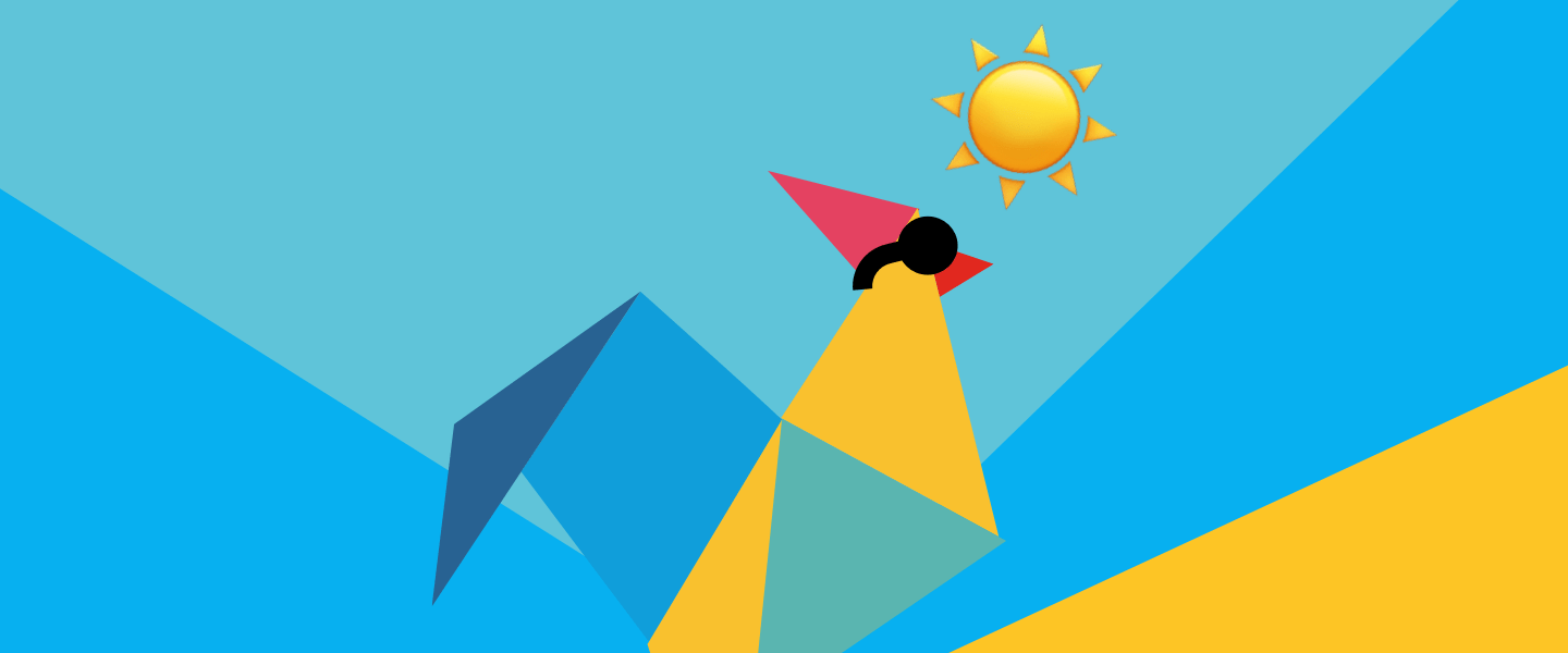 The RoosterMoney logo wearing sunglasses, with an emoji sun behind it and a sunset-like multi-coloured origami pattern as the background