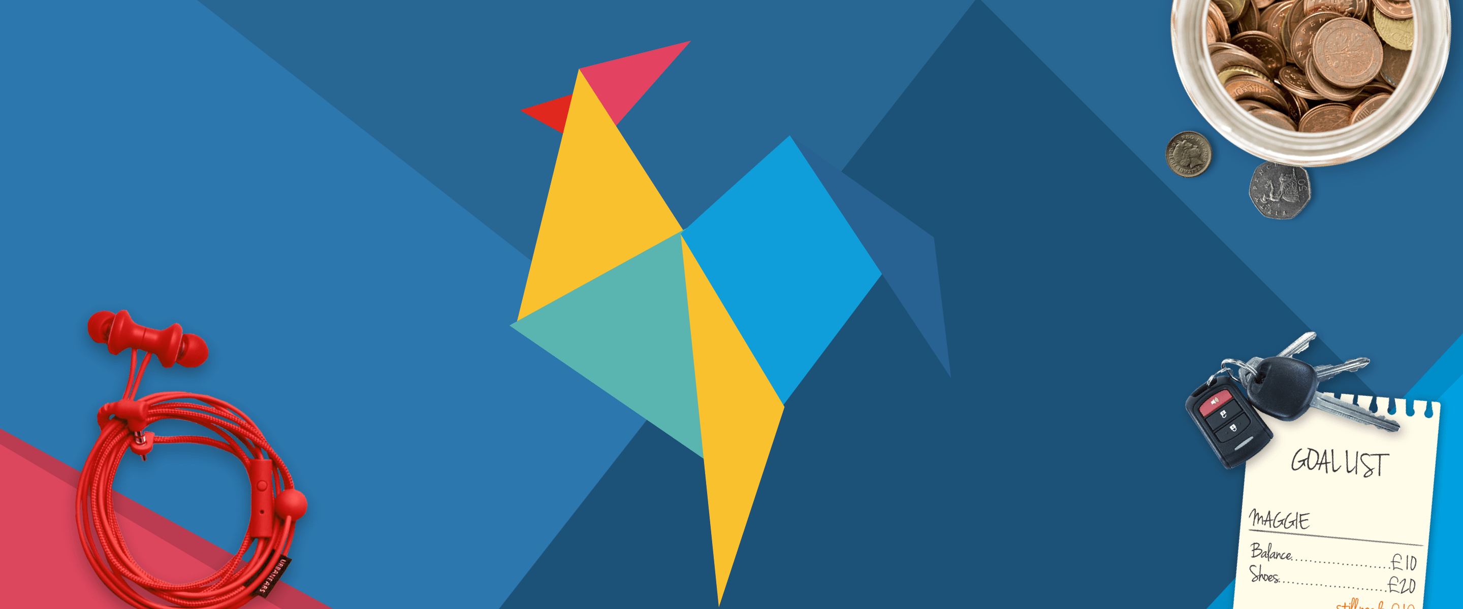 RoosterMoney logo on an origami dark blue background, with origami decorating the corners and red headphones, a pot of coins and a list of goals overlaid