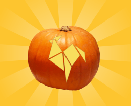 Illustration of a shining RoosterMoney logo carved Halloween pumpkins on a gold background with decorative origami in the corners