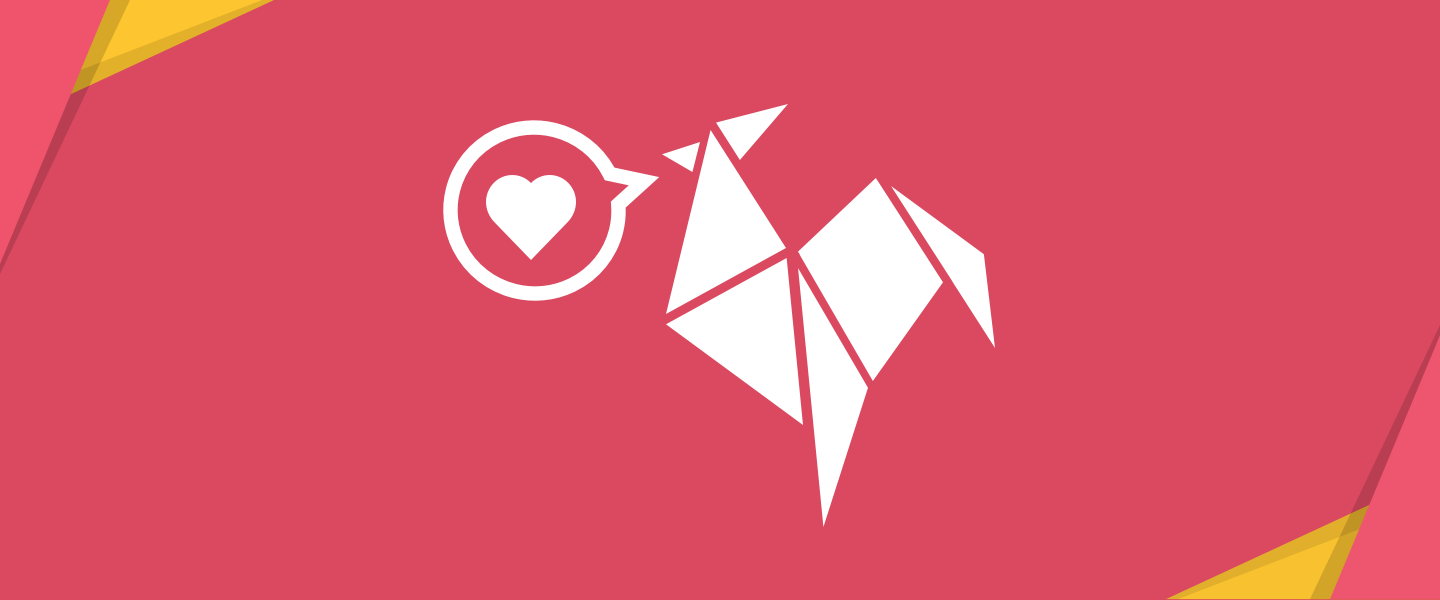 Illustration of a white Rooster logo with a speech bubble containing a heart coming from it's beak, on a red background with origami overlaid in the corners