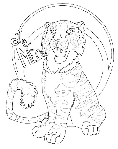 Happy Tiger Coloring Page for Adults - Root Inspirations