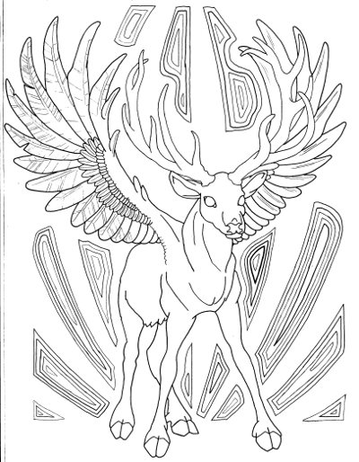 Winged Buck Coloring Page For Adults Root Inspirations
