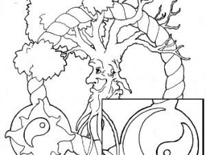 yin yang tree coloring page