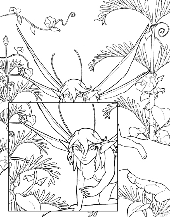 Fairy Encounter Coloring Page for Adults - Root Inspirations