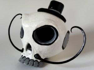 dapper sugar skull gourd sculpture