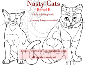 Nasty Cats Adult Coloring Book, 13 sweary cats to color!