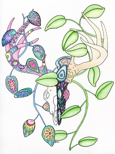 sugar skull deer coloring page