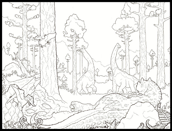 jurassic lazy afternoon coloring page