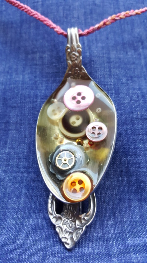 scoop of buttons upcycled necklace