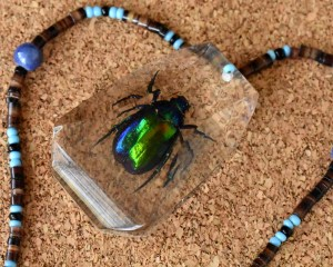 Green Beetle Beaded Necklace
