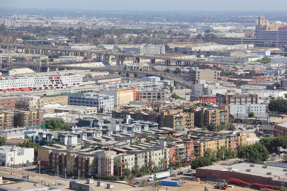 arial view of apartment buildings in Los Angeles