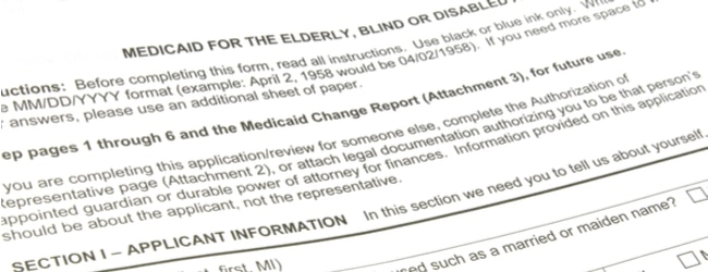 A small section of a blank medicaid application form.