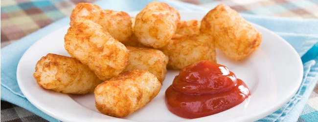 A plate of tater tots with a dollop of ketchup.